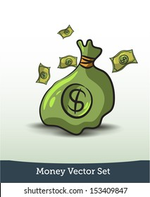 Money vector set.bag with a dollar sign