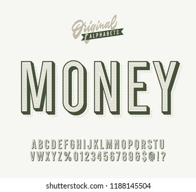 """Money"" Vintage 3d Premium Alphabet. Dollar Inspired Inline Retro Typeace. Vector Illustration."