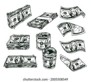 Money vintage monochrome concept with rolls and stacks of one hundred US dollar bills isolated vector illustration