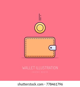 Money wallet with dropping golden coin vector icon illustration in monoline style