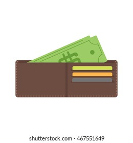 Money in wallet flat vector design for business and finance purse vector. Business  open wallet finance money currency. Opened wallet flat style icon. With plastic cards financial dollar and cash.