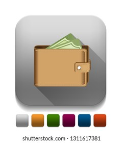 money in wallet icon With long shadow over app button