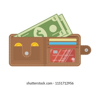 Money wallet icon. Vector illustration in a flat style.