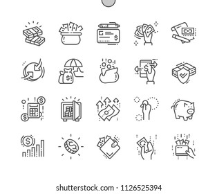 Money Well-crafted Pixel Perfect Vector Thin Line Icons 30 2x Grid for Web Graphics and Apps. Simple Minimal Pictogram