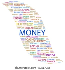 MONEY. Word collage on white background. Illustration with different association terms.