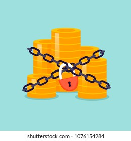 Money is wrapped in chains and locked. Flat design vector illustration.