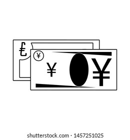 Money yen and euro cash billets isolated in black and white vector illustration