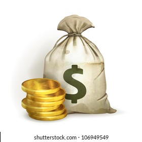 Moneybag, old-style vector isolated