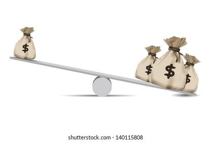 Money,Balance scale,Finance concept,vector