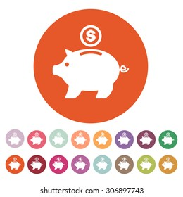 The moneybox icon. Cash and money, wealth, savings symbol. Flat Vector illustration. Button Set