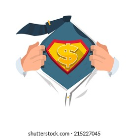 moneyman opening shirt in superhero style. money concept - vector illustration