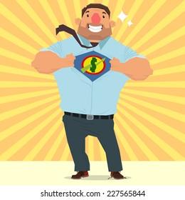 moneyman opening shirt in superhero style. super businessman. vector illustration.