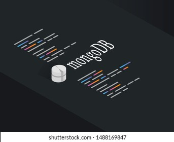 MongoDB Strructure Query Language, the database for modern applications programming language vector illustration