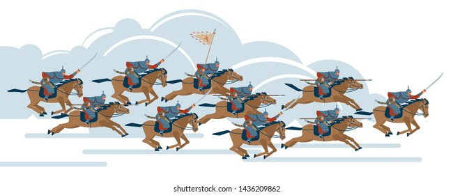 Mongol conquest. Time Of Genghis Khan. Medieval Asian cavalry warriors fight with swords and spears. Vector illustration on isolated background. Flat cartoon style.