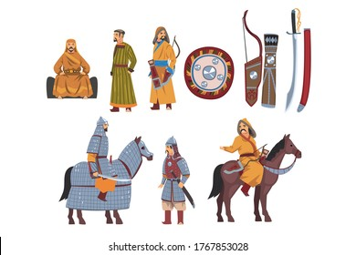 Mongol Nomad Warriors in Traditional Clothing with Weapon Collection, Central Asian Characters Vector Illustration