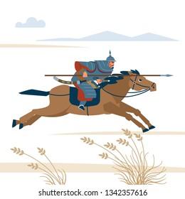 Mongol rider. Medieval battle historical illustration. Vector flat isolated illustration.