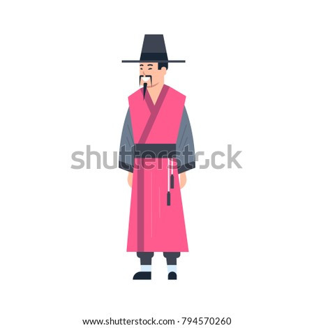 0c298a57ec78e Mongol Traditional Clothes Man Wearing Ancient Costume Isolated Asian Dress  Concept Flat Vector Illustration