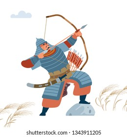 Mongol warrior archer with arrow and bow. Isolated vector flat illustration
