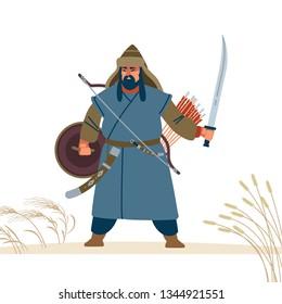 Mongol warrior character. Medieval battle illustration. Historical illustration. Isolated vector flat illustration