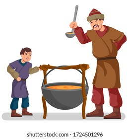 Mongol warrior is cooking stew with his son, colorful illustration