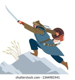 Mongol warrior. Medieval battle illustration. Historical illustration. Isolated vector flat illustration
