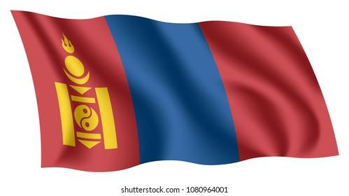 Mongolia flag. Isolated national flag of Mongolia. Waving flag of Mongolia. Fluttering textile mongolian ensign. Mongolian State Flag.