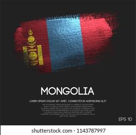 Mongolia Flag Made of Glitter Sparkle Brush Paint Vector