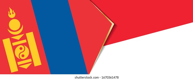 Mongolia and Monaco flags, two vector flags symbol of relationship or confrontation.