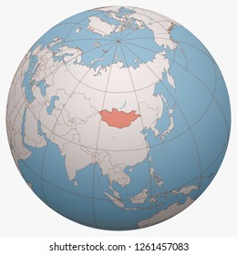 Mongolia on the globe. Earth hemisphere centered at the location of Mongolia. Mongolia map.