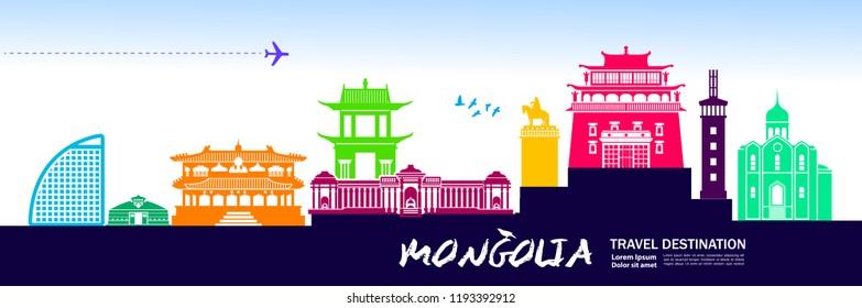 Mongolia Travel Destination Vector.