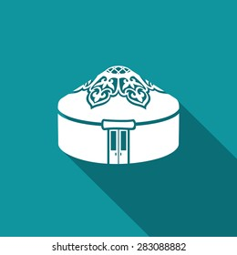 Mongolia Yurt icon. Roof Hill. Historical Islamic warm housing. Kyrgyzstan home. Kazakhstan house. Vector Illustration.