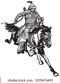 Mongolian archer warrior on a horseback riding a pony horse in the gallop and holding a bow .Medieval time of Genghis Khan . Black and white vector illustration