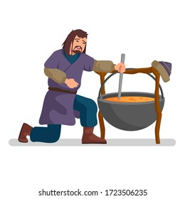 Mongolian man is cooking stew in a massive pot, cartoon style