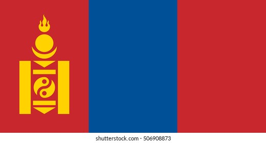 Mongolian national official flag. Patriotic symbol, banner, element, background. Accurate dimensions. Flag of Mongolia in correct size and colors, vector illustration