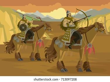 mongolian rider calvary in asian desert