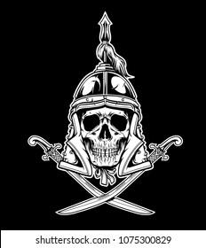 Mongolian Skull Warrior Emblem Vector Illustration