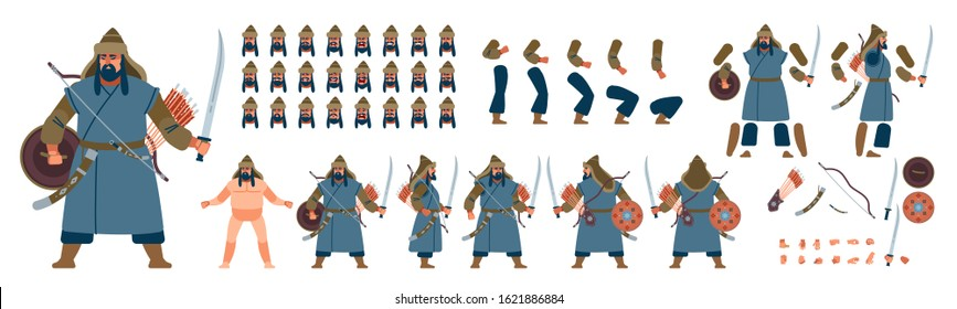 Mongolian warrior character creation for animation. Ancient nomad Warrior Cartoon vector illustration isolated on white background. Front, side, back, various views, face emotions, poses and gestures.