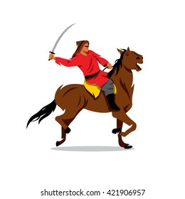 Mongolian Warrior with saber on horseback. Vector Cartoon Illustration.  Rider with sword Branding Identity Corporate unusual Logo isolated on a white background