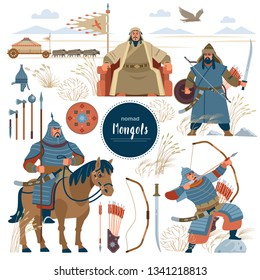 The Mongols. Set mongol nomad warriors flat characters. warriors, khan; sword; armor; genghis; steppe; shield; army; horse; arrow; rider; archer; horde; bow; emperor; yurt, bull, eagle. Flat style