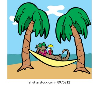 mongoose on a  tropical island, resting in a hammock, wearing sunglasses and holding a tropical drink