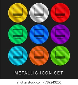 Monitor 9 color metallic chromium icon or logo set including gold and silver