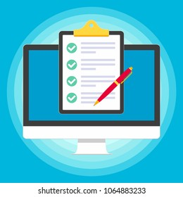 Monitor or All in one pc flat design with clipboard and check marks tick  popped above the screen icon signs vector illustration. Technology concept of online survey isolated on blue background.