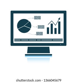 Monitor with analytics diagram icon. Shadow reflection design. Vector illustration.