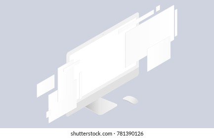 Monitor with blank screen and web wireframing pages - perspective view. Isometric mockup to showcase your website design project in the modern style. Vector illustration