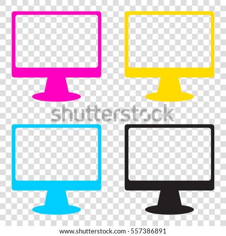 9b577a8f1f96 Monitor with brush sign. CMYK icons on transparent background. Cyan