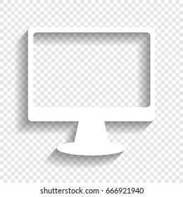 Monitor with brush sign. Vector. White icon with soft shadow on transparent background.