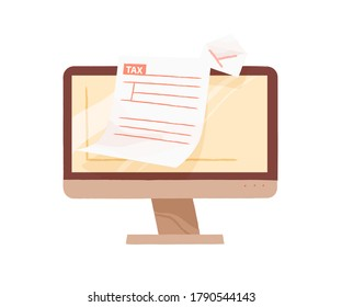 Monitor of computer demonstrate open email with tax form blank vector flat illustration. Online personal taxation, income or revenue calculation isolated. Internet banking or payment service