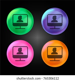 Monitor crystal ball design icon in green - blue - pink and orange.