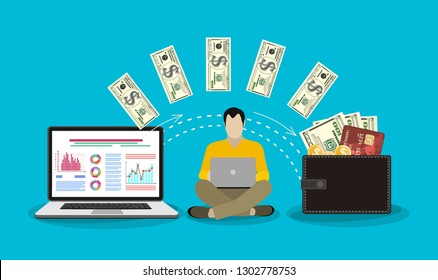 Monitor with dollars, concept of earnings in internet network, online finance, electronic wallet, freelance work, financial success. Vector illustration.