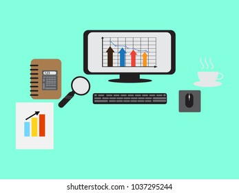 Monitor with elements on table concept,vector illustration